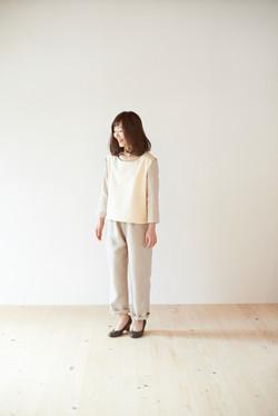 裏起毛×リネン切替カットソー/リラックスパンツ