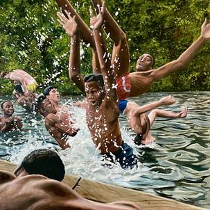 Boys Playing in Lake