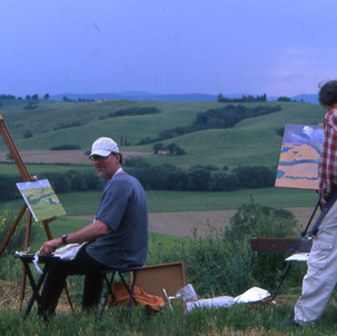 Painting with a friend in Tuscany, Italy