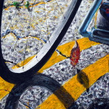 """Detail """"Chasing the Pack."""" Rear tire with leaves"""