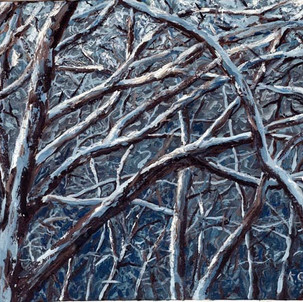 Snow trees, painted from memory.