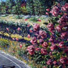 """Detail """"Chasing the Pack."""" Rose bush with hawks"""