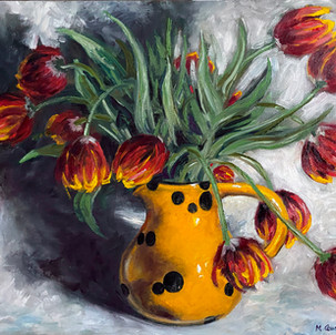 Painting tulips in yellow cow spots pitc