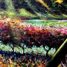 """Detail """"Chasing the Pack."""" Hedge"""