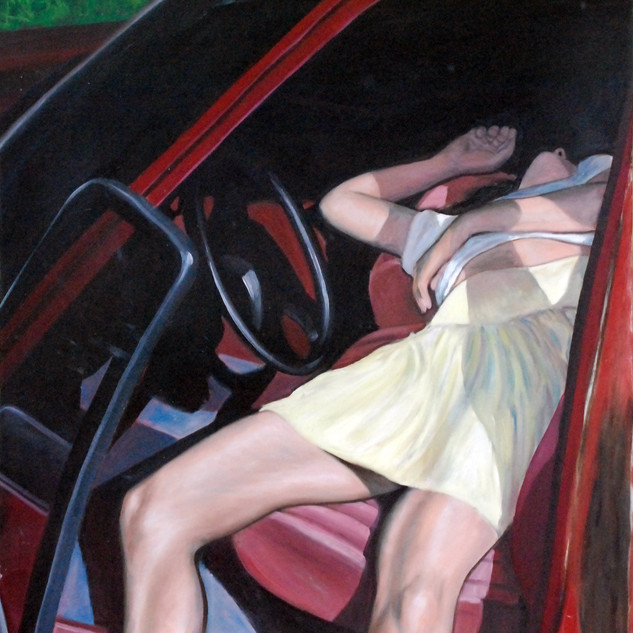 Woman Resting in Red Car..