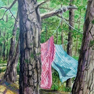 Watercolor made on Cape Cod on a lazy, hot afternoon while vacationing.
