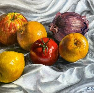 Fruit On White Cloth