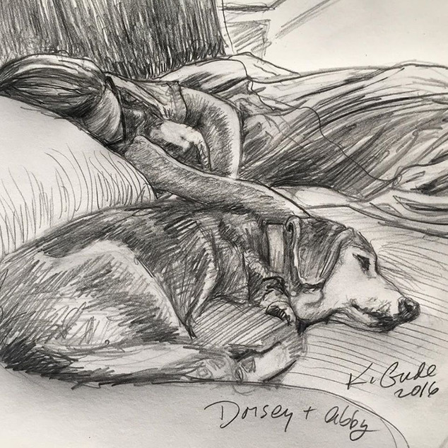 Dorsey and Abby napping