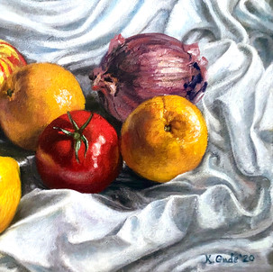 Still life with fruit and veggies