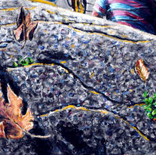 """Detail """"Chasing the Pack."""" Blowing leaves over asphalt"""