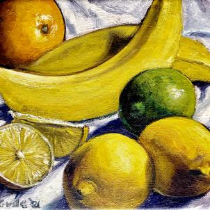 Painting with orange, bananas and lemons