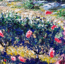 """Detail """"Chasing the Pack."""" Right side hedge with roses"""