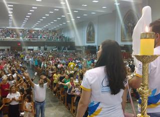 Membros da Paróquia NSF visitam a Paróquia Sagrada Família para divulgar o Centenário das Aparições.