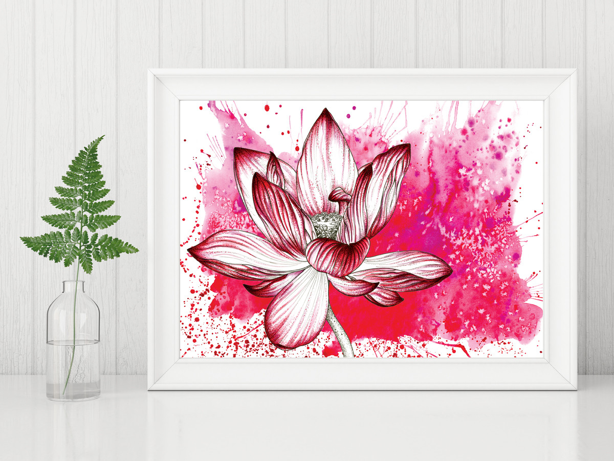 Joanna ritchie botanical illustrations flower print floral art lotus flower art red flower print watercolour painting anniversay gifts valentines day izmirmasajfo
