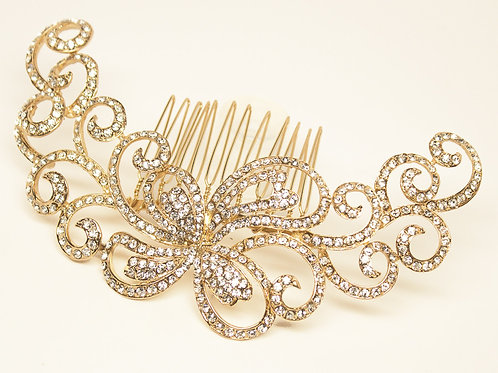 """London"" Elegant Rhinestone Scroll Bridal Hair Comb"