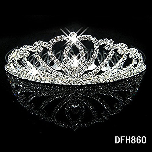 Vintage Flower Crystal Rhinestone Tiara Crown With Comb