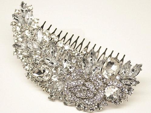 """""""Samara"""" Dramatic Vintage Rhinestone Bridal Hair Comb"""