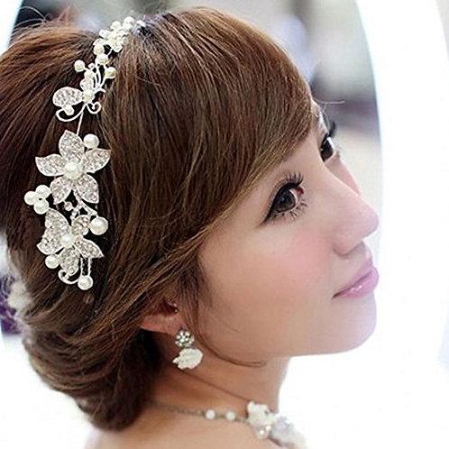 Silver Rhinestone Flowers & Pearls Headband