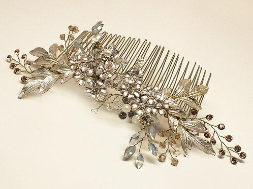 """Chelsea"" Large Bridal Leaf Gold Hair Comb"