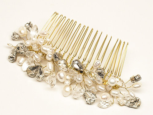 """Danielle"" Crystal, Pearl and Rhinestone Beaded Bridal Hair Comb"
