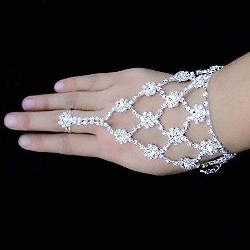Bracelet Flower Chain One Piece Ring Set