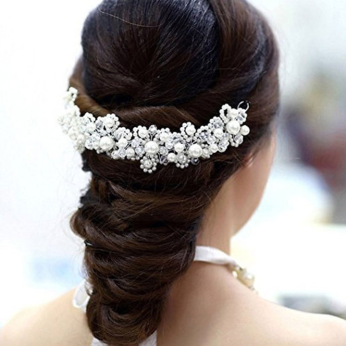 White Pearl Crystal Bride Headdress