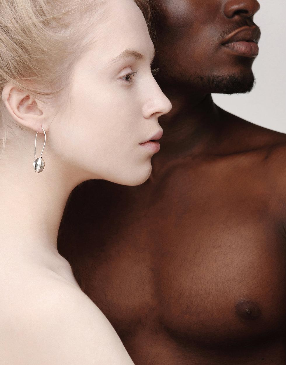 Light skinned female and dark skinned male