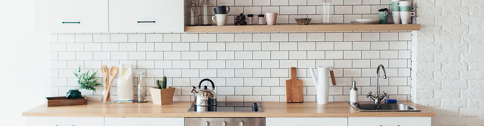 Kitchen decor with wood counter and white tiles