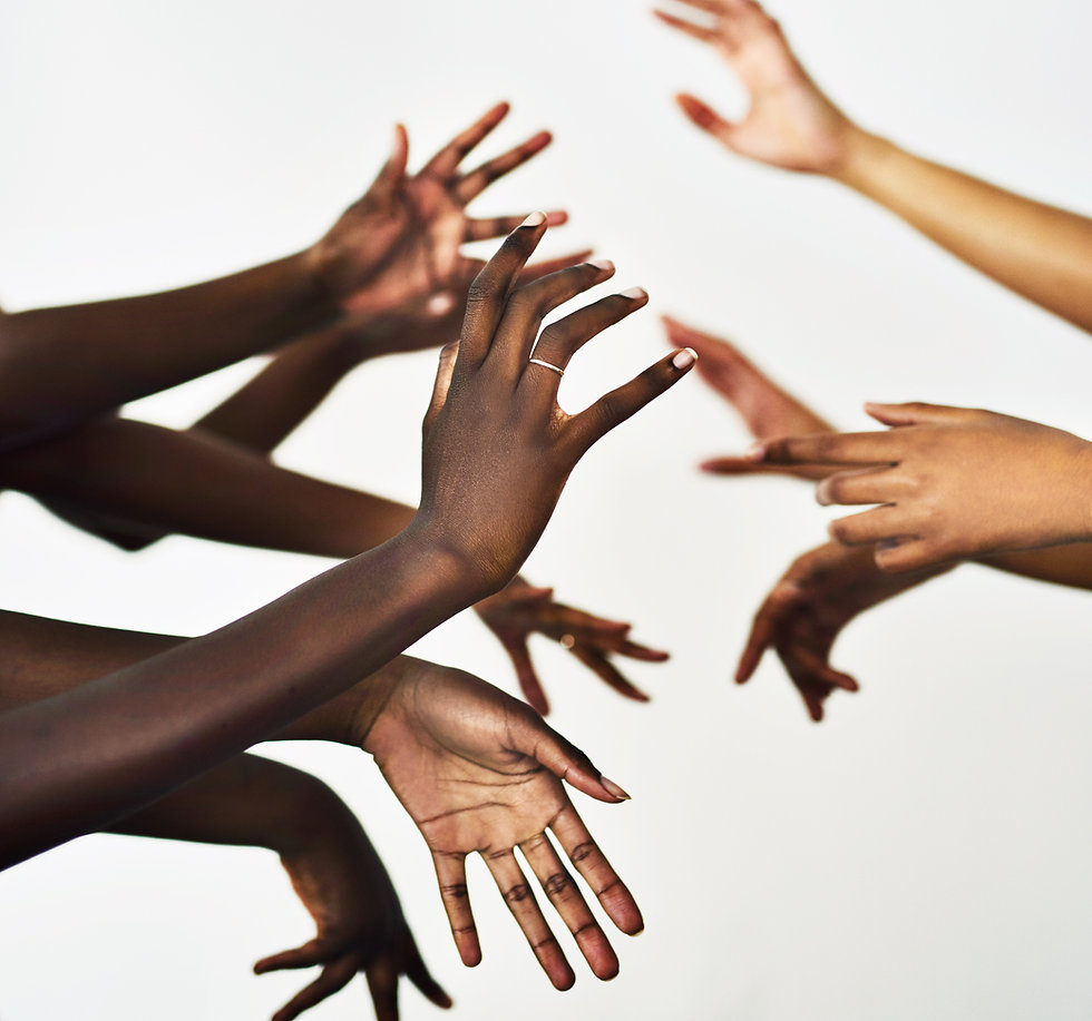 Movements of hands in all different skin tones