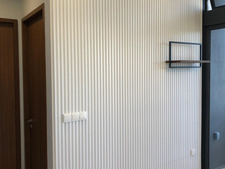 white slat wall panel design