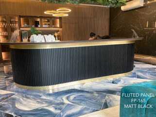 counter with fluted panel
