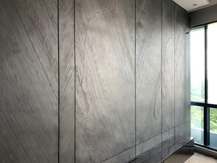 grey stone feature wall panel