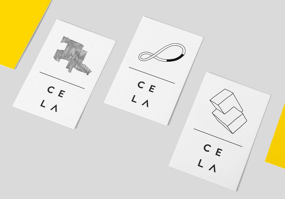 Cela Collective name card design illustrations