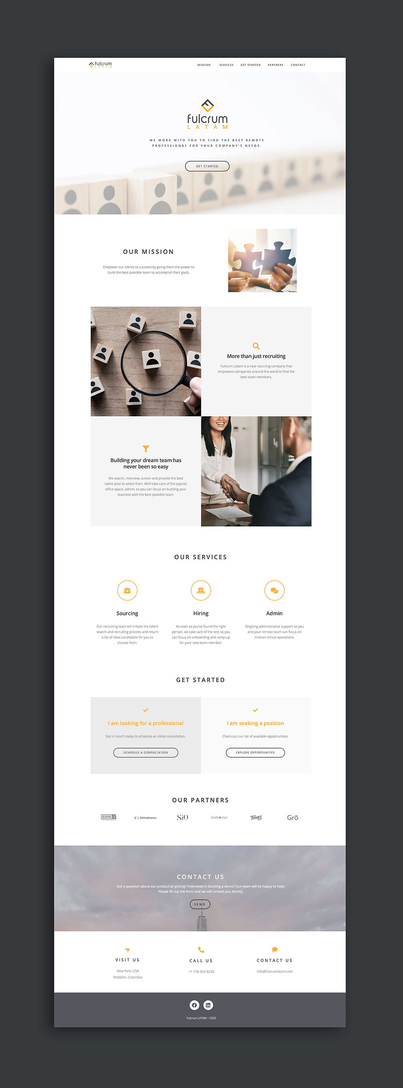 Fulcrum latam Website UI design