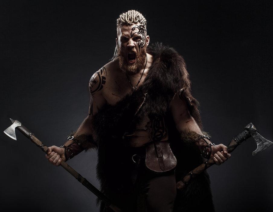 Medieval warrior berserk Viking with tat