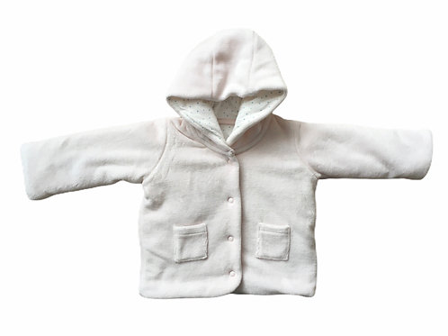 M&S Up to 1 month Pink and White Striped Hooded Coat