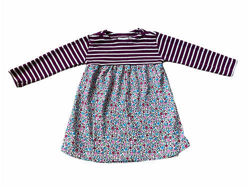 JoJo Maman Bebe 12-18 months Striped and Floral Dress (Small stain - see photo)