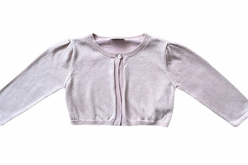Next 7-8 years Dusky Pink and Gold Sparkly Cropped Cardigan