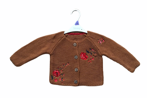 Ex Chain Store 6-9 months Brown Floral Cardigan - BRAND NEW