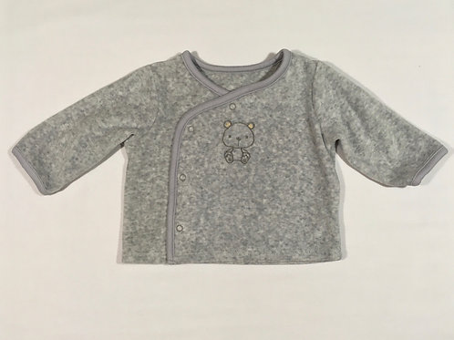 Grey Velour 0-3 months Long Sleeve Top