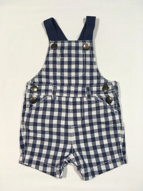 Boots Mini Club 0-3 months Navy and White Checked Short Leg Dungarees