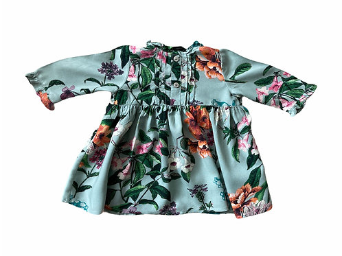 Next 3-6 months Green Floral Long Sleeve Dress