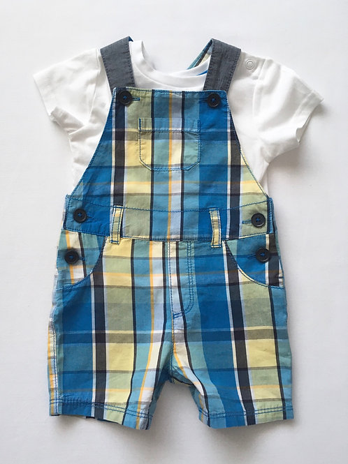 Bluezoo 3-6 months Checked Dungarees with White T-shirt