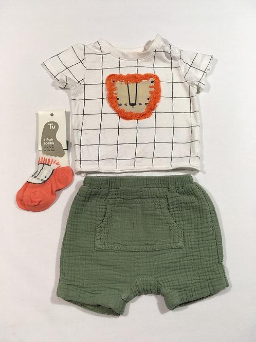 TU 3-6 months Lion T-shirt, Shorts and Sock Set
