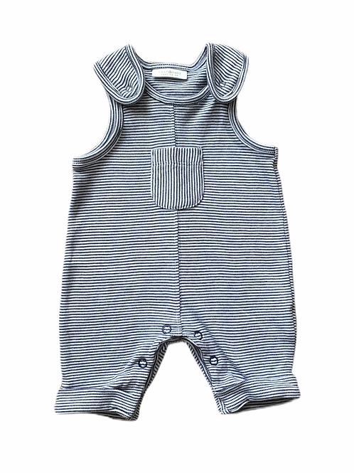 Next First Size Black and White Striped Dungarees 100% Cotton