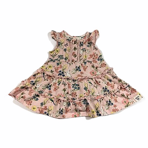 Mantaray 0-3 months Pink Sleeveless Top with Rabbits, Butterflies and Flowers