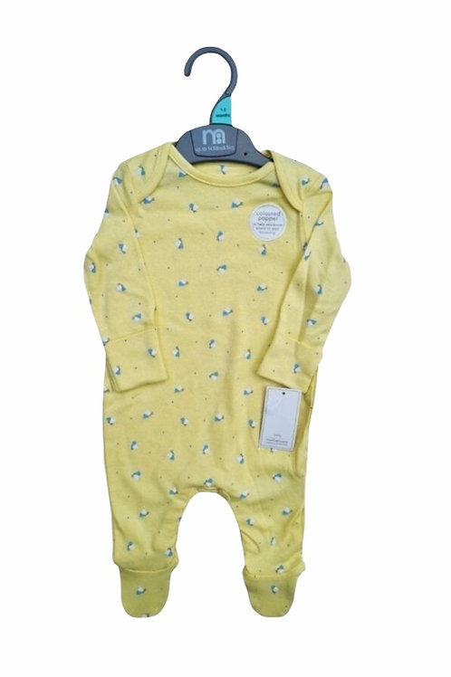 Mothercare 3-6 months Lemon Butterfly Sleepsuit - BRAND NEW