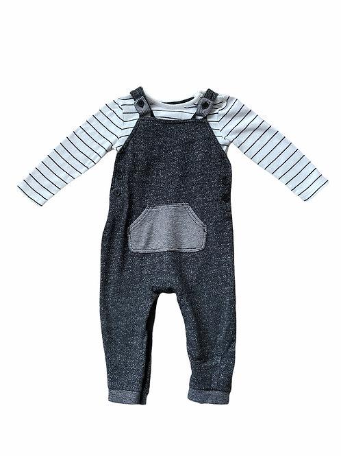George 12-18 months Black Marl Dungaree and Long Sleeve Bodysuit Set