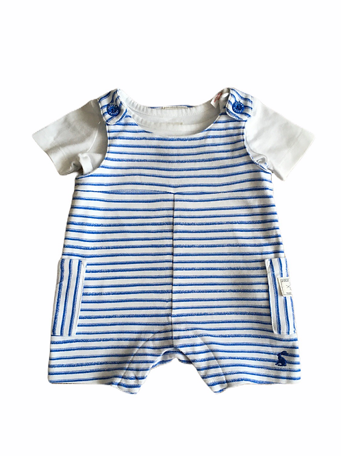 Joules 0-3 months Blue and White Striped Dungarees with White T-shirt
