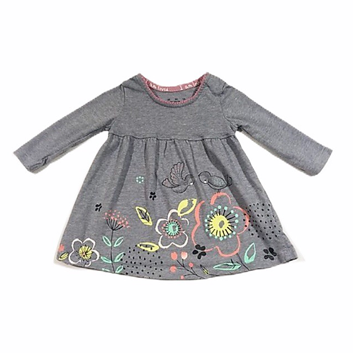 F&F Up to 3 months Blue Floral and Bird Long Sleeve Top